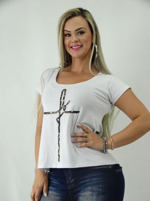 T-shirt em Viscolycra Estilo Mullet Branco Fe [1902090]