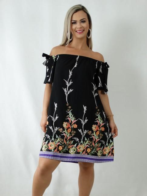 Vestido em Viscose Ciganinha Preto Flores [1903059]