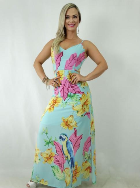 fad54bf63d Vestido longo em viscose com Amarração e Abertura Costas Azul Flores Folhas   1901242