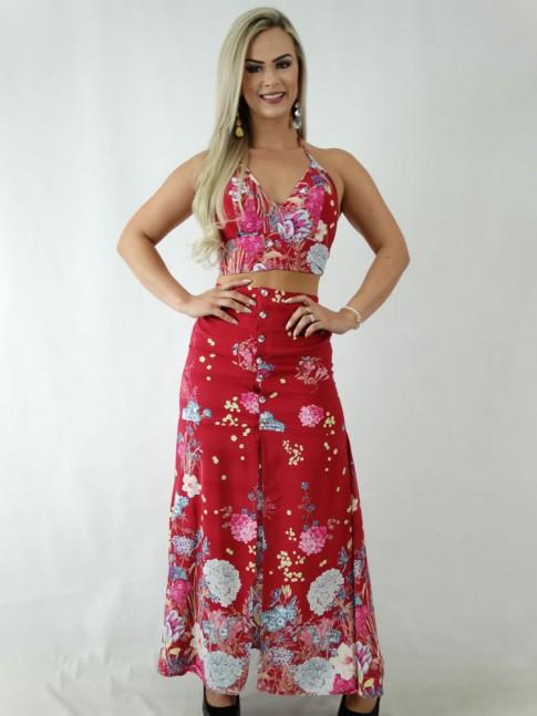 2134efac30 Conjunto em Viscose Saia Longa com Botões e Cropped com Bojo Vermelho  Flores  1903179