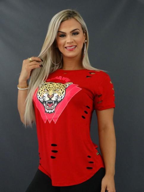Blusa T-shirt Mullet Sobre Legging Corte à Laser em Viscolycra Vermelho Onça [2103170]