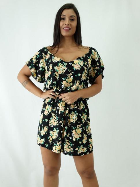 Vestido em Viscose Decote arredondado Acinturado Preto Flores Amarelas