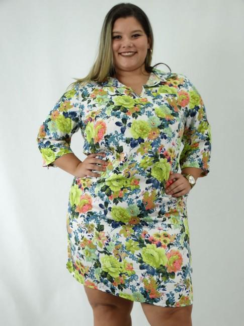 Vestido de viscose com gola e manga 3/4 plus size estampa Floral