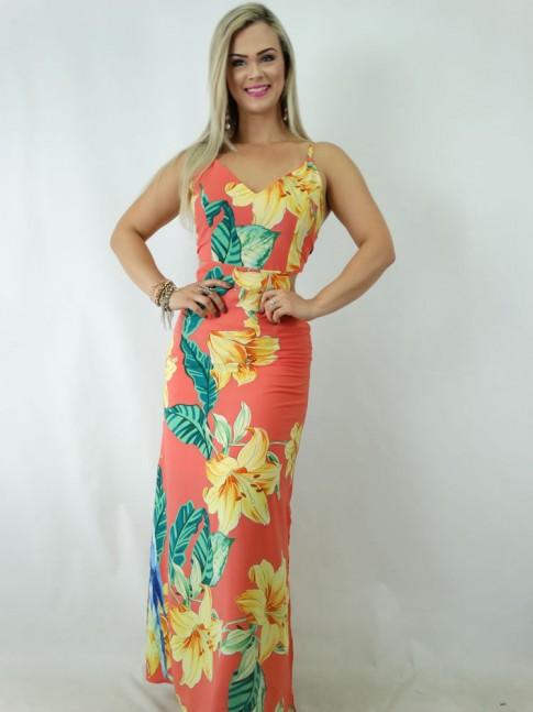 09d4e0e7b6 Vestido longo em viscose com Amarração e Abertura Costas Coral Flores  Folhas  1901243