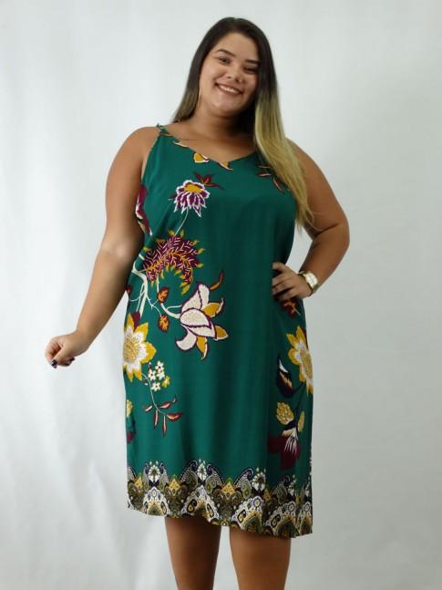 Vestido em Viscose Decote V Alca Fina Plus Size Verde Flores [1902135]