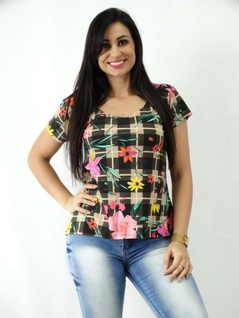 T-shirt em Viscolycra Mullet Estampada Xadrez Marrom Flores