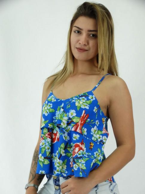 Blusa com Sobreposicao em Viscose Azul Floral