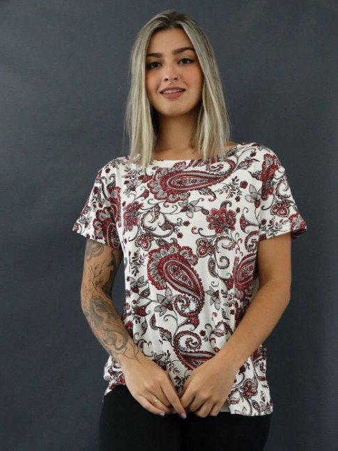 T-shirt Estampada em Viscolycra Off Cachemir Vermelho [2012061]