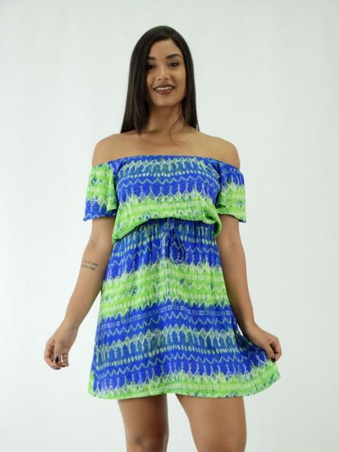Vestido Ciganinha em Viscose Amarracao Etnico Verde Azul