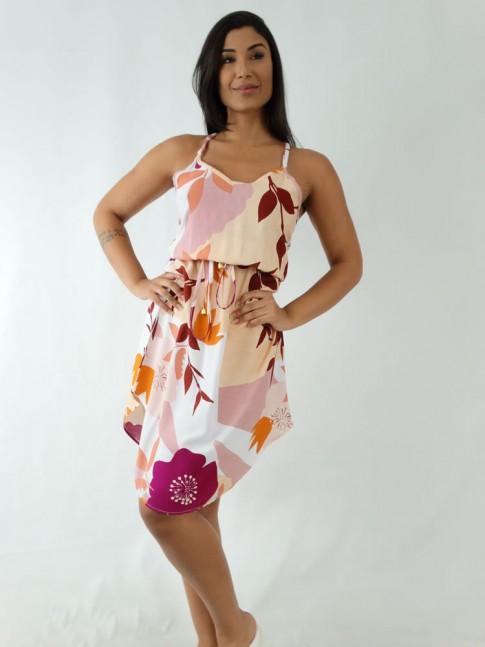 Vestido em Viscose Midi de Alça com Elástico na Cintura Bege Flores Detalhes Rose [1912052]