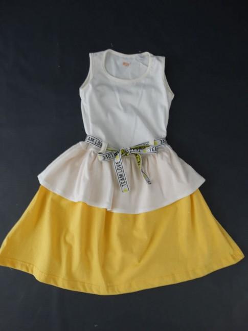 Vestido Infantil em Malha com Cinto Off White e Amarelo Glitter [2008207]