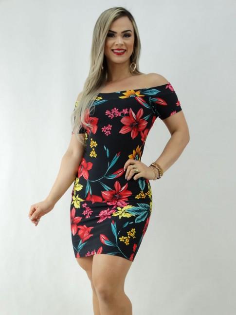 Vestido em Suplex com Manguinha Ombro a Ombro Preto Flores Colors [2003054]