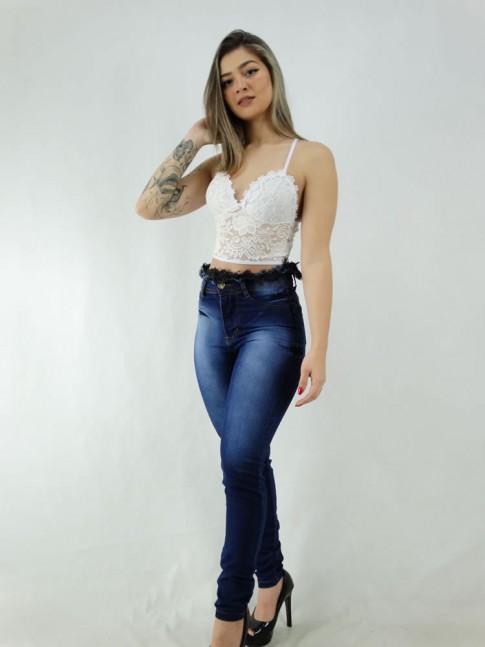 Calça Jeans Desfiado Preto na Cintura com Stretch [2006009]