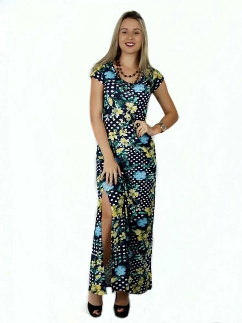 314 -  Vestido Longo com Fenda em Visco Poá com Flores 632