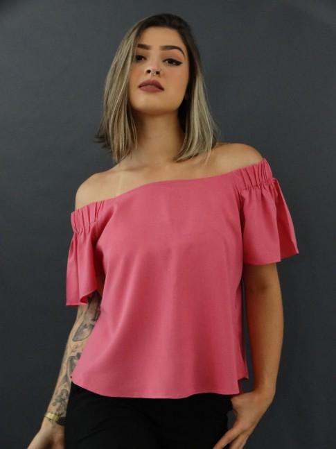Blusa Ciganinha em Viscose Estilo Bata Rosa Chiclete [2010106]