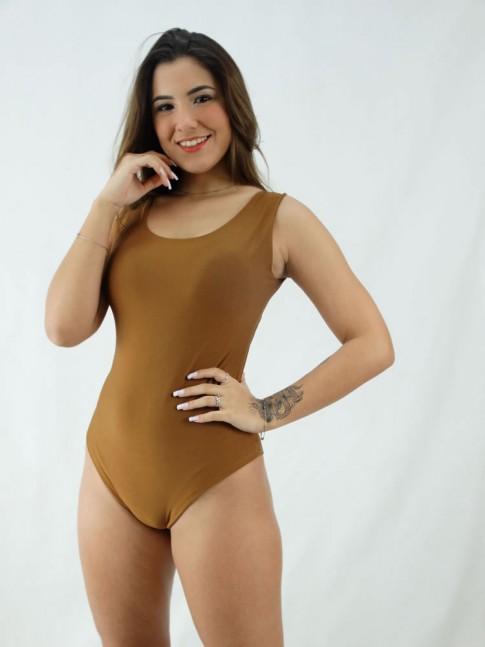 Body Regatão Decote Costas com bojo Suplex Liso Marrom [2008040]