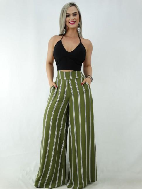 Calça Pantalona em Viscose com Pala e Elástico Verde Listras [2001064]