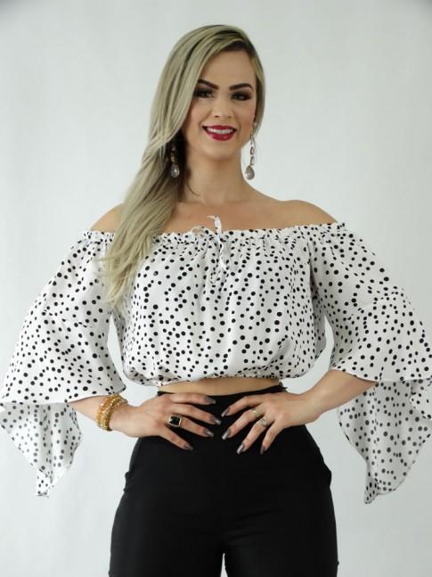 Blusa Cropped Ciganinha em Viscose Flare Branco Poá Preto [1907030]
