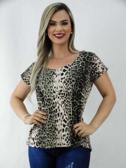 T-Shirt em Viscolycra Mulet Leopardo Acinzentado [2003113]