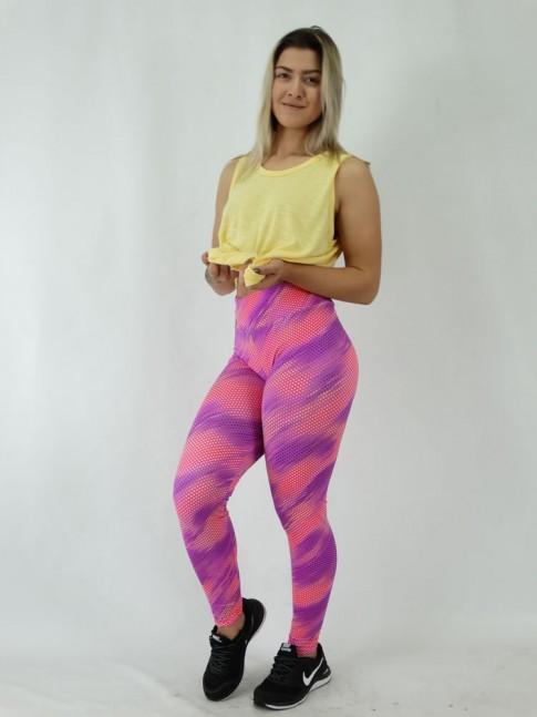 Calça Legging em Suplex Rosa Potilhados Colors