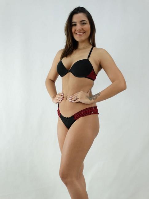 Conjunto Sutiã Nadador Costas Listrado + Calcinha Listrado Lateral Preto e Vermelho [2008093]
