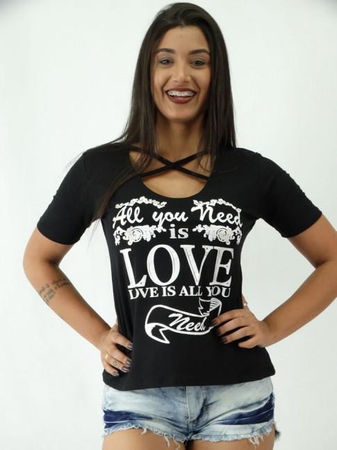 T-shirt em Viscolycra Detalhe Tiras no decote Love Dizer