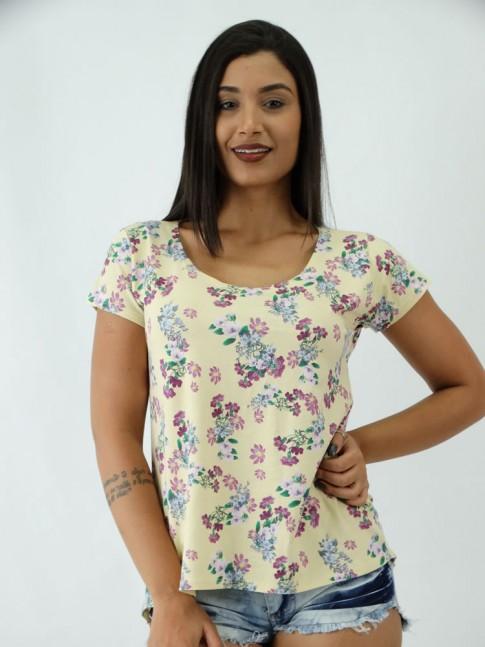 T-shirt em Viscolycra estilo Mullet  Estampada Amarelo Claro Florzinhas