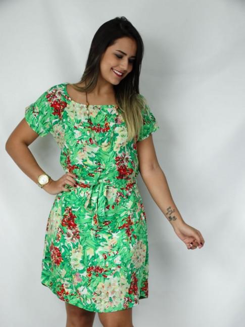 Vestido de viscose com faixa estampa floral verde