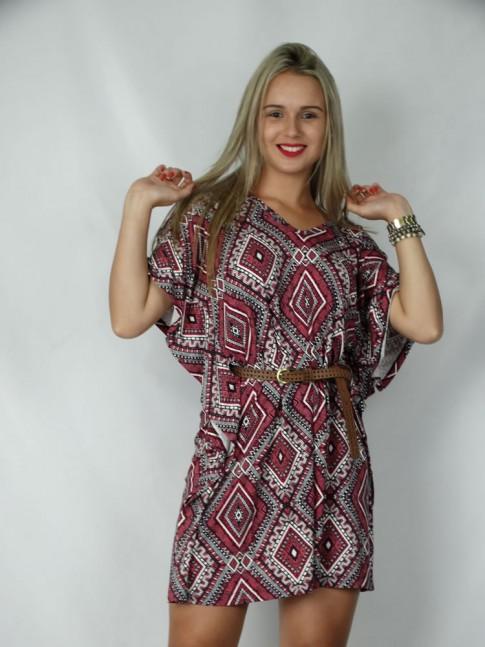Vestido decote V com tiras no decote estampa étnica