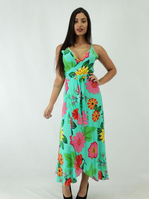 Vestido Envelope em Viscose Verde Flores
