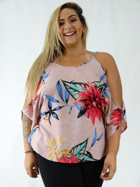 Blusa em Viscose Manga Morcego Plus Size Rose Flores Colors [1911186]