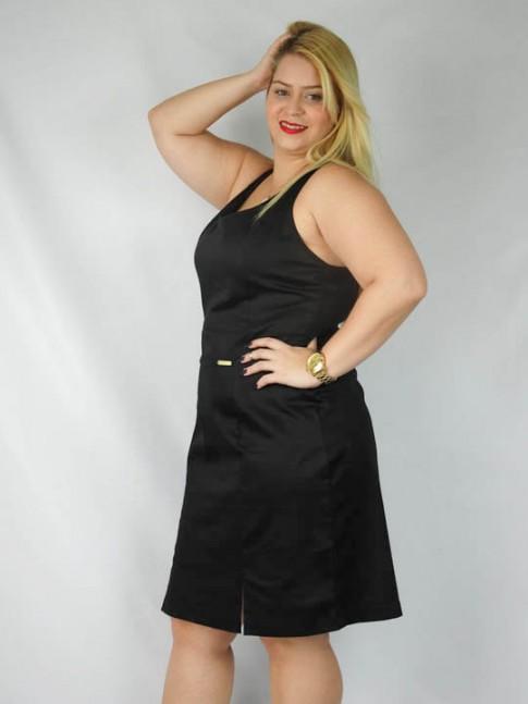 Vestido decote V tecido viscose com fenda plus size