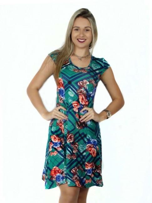 314 - Vestido  Gode com Recortes em Visco Estampa Etnica Verde com Flores 481