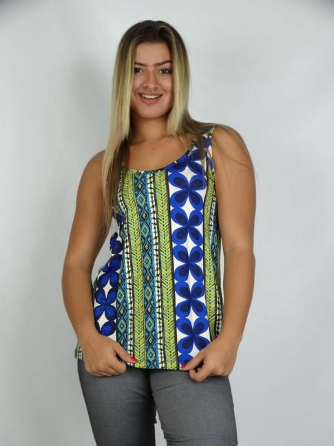 314 - Bata Camiseta em Viscolycra Estampa Etnica Azul 591