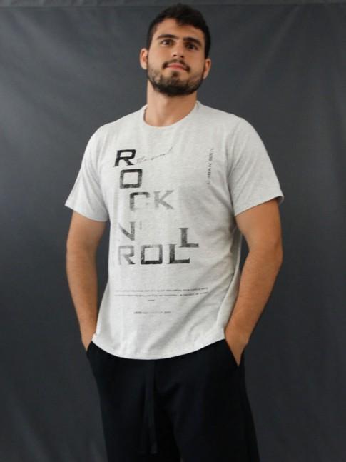 T-shirt Masculina Estampada Rock N' Roll Cinza [2010185]