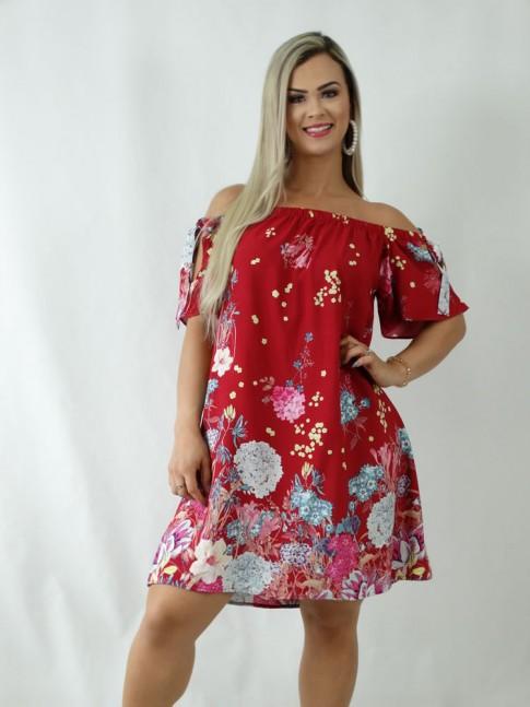 Vestido em Viscose Ciganinha Vermelho Flores [1903058]