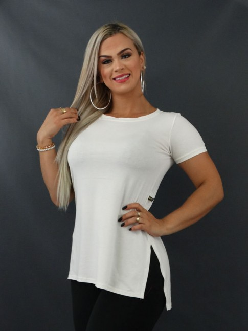 Blusa T-shirt Estilo Mullet em Viscolycra Off White [2103184]