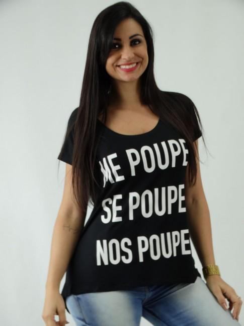 T-shirt em Viscolycra Mullet Estampa Nos Poupe