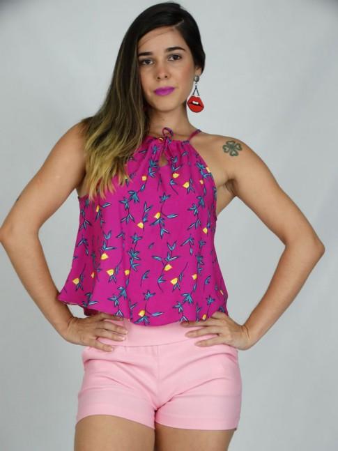 100 - Blusa Cropped em Viscose Amarração nas costas Rosa Estampa Florzinhas