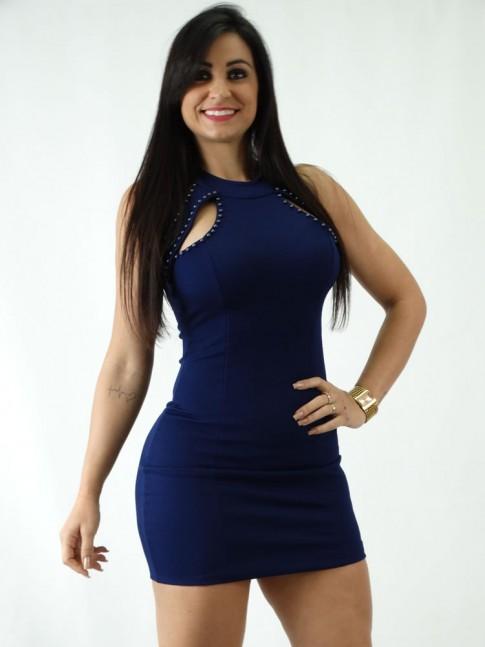Vestido em Jacquard Frente com Abertura e perolas Azul Marinho