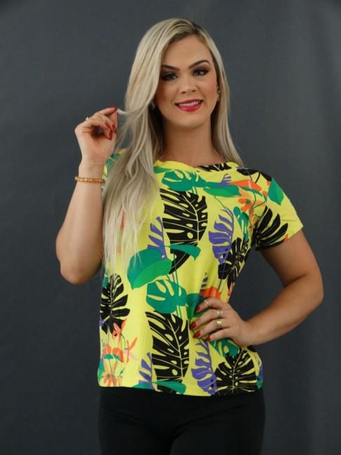 T-shirt Estampada em Viscolycra Amarelo Folhas Colors [2101021]