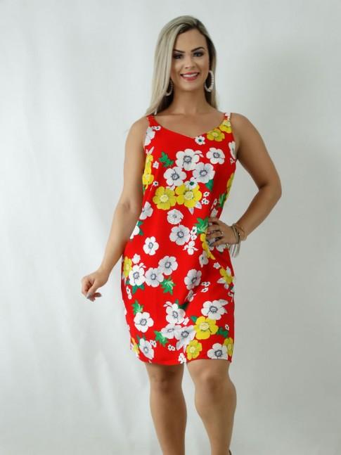 Vestido em Viscose Decote V Alca Larga Vermelho Flores [1903038]