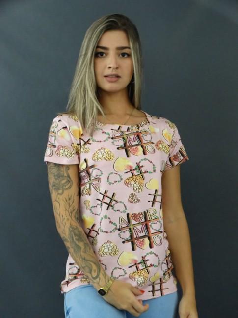 Blusa T-shirt Estampada em Viscolycra Rosa Jogo da Velha [2103136]