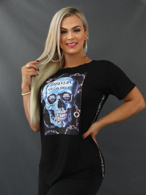 Blusa T-shirt Sobre Legging com Aplicação Lateral em Viscolycra Preto Caveira [2103173]