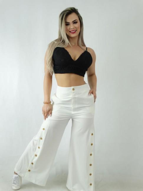 Calça Pantalona em Viscose Com Botões Branco [1910002]