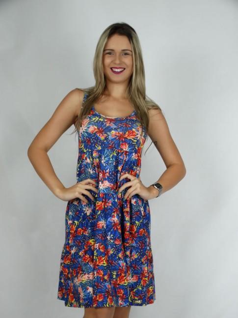 314 - Vestido  Gode com Babado Visco  Estampa Floral Azul  478