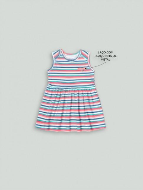 Vestido Infantil Meia Malha Listrado Rosa e Azul [2008199]