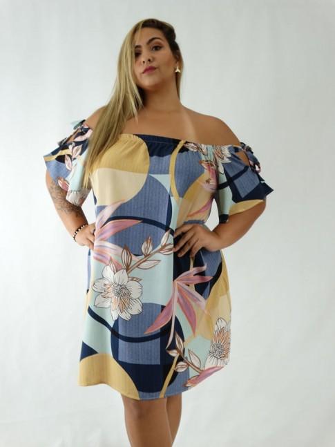 Vestido em Viscose Ciganinha Plus Size Colors Geometrico Folhas [1911325]