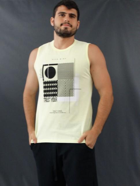 Camiseta Masculina Regata Estampada Geométrica Amarelo [2010183]
