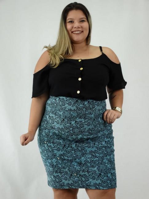 Saia Plus Size em Jacquard Nervura com Strass Azul e Preto Flores
